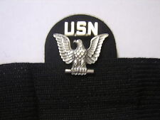 NAVY SERVICE CAP INSIGNIA ENLISTED E1-E6 MALE NIP DATED 1973 SILVER OXIDE FINISH
