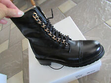 NEW STEVE MADDEN 2 CHAIN BLACK LEATHER MID BOOTS WOMENS 7 LACE UP & ZIP
