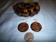 Bracelet and Earring Set in Tiger Print/ Tortoise Shell Look Plus Silver Bracele