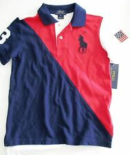 Ralph Lauren Boys Big Pony Colorblocked Short Sleeve Polo Shirt Red Sz 6 - NWT
