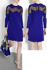 CARVEN Royal Blue Dress With Black Lace Insert Pencil Tunic Dress UK 10 RRP £795