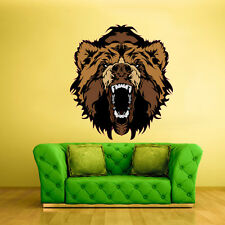 Color Wall Decal Sticker Angry Bear Head Animal Brown Sport (Col50)