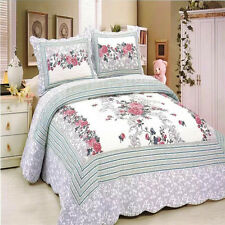Patchwork 100% Cotton Quilt Bedspread Coverlet Throw Rug-3pcs Queen King Size