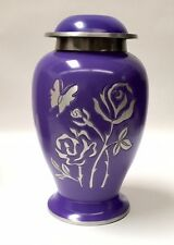 Gorgeous adult size rose and butterfly funeral cremation urn, ash urns- purple