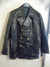 VINTAGE 40'S WW2 GERMAN HORSEHIDE LEATHER OFFICER FIREMANS JACKET SIZE XL
