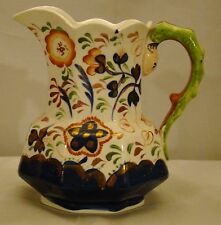 Antique Gaudy Welsh Snake Handle Octagonal Jug Pitcher early 19th c