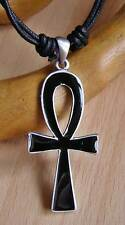 Pewter Egyptian Ankh Pendant Cord Necklace NEW Black Enamel Finish