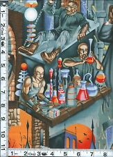 Fabric Henry Dr. Frank's Laboratory MAD SCIENTIST Dracula Wolf man Halloween 1yd