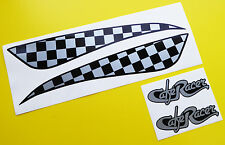 CAFE RACER style SILVER CHEQUERED TANK DECAL STICKER SET including logos