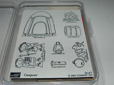 Stampin Up Campout Stamp Set 7 NEW Camping Tent Camp Sleeping Bag Fire