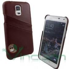 Custodia rigida POCKET marrone per Samsung Galaxy S5 G900F tasche porta schede