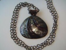 LIA SOPHIA Gray Abalone Inlay Pendant Necklace Long Strand