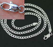 """20"""" 925 Sterling Silver Plated 4MM Chain Fashion Men  Flat Necklace Pendants HOT"""
