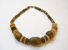 "Multi Colored Assorted Wood Beads Chunky Mixed Beaded Necklace 18"" New"
