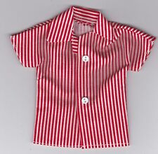 Homemade Doll Clothes-Red and White Striped Shirt that fits Ken Doll B1