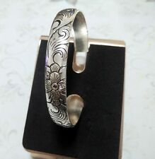 MRDYHuazuo13 tibet silver chinese exquisite flower bracelet cuff bangle