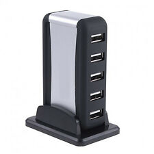 7 Port USB 2.0 High Speed Hub w/ EU Plug AC Power Adapter Cable for PC Laptop