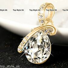 Gold Tear Diamond Necklace Crystal Jewellery Mum Gifts for her Girlfriend Women