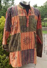 "NEW HIPPIE PATCHWORK SHIRT FESTIVAL TOP KURTA 46"" 48"" 50"" XL XXL UNISEX MENS MAN"