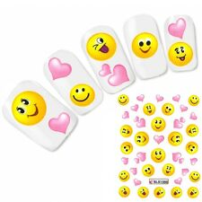 Nagel Sticker Nail Art Smiley Herz Heart Aufkleber Water Decal