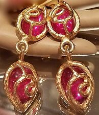 ~GORGEOUS! VTG Elegant 90's Christian LaCroix Paris Pink Dangle Drop EARRINGS
