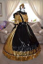 Amazing Long Gold PVC Adult Sissy Maids Dress With Black Apron size xxl