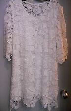PRETTY ANGEL NWT WHITE EYELET LACE DRESS TUNIC SZ LARGE GORGEOUS EMBROIDERY