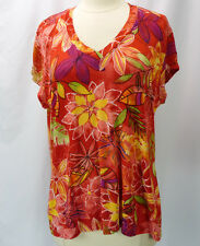 CHICOS Travelers Red Tropical Floral Print Slinky Knit V-Neck Tee Top 3 L XL