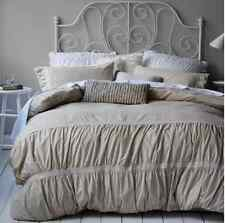 Shabby Ruffle / Ruched Chic Queen Bed Doona Duvet Linen Quilt Cover Set Chic New