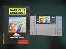 Mario is Missing!  (Super Nintendo SNES, 1994) Game + Manual-Cleaned & TESTED!!!