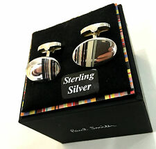 "Paul Smith ""MULTISTRIPE"" argent sterling 925 superbe oval boutons de manchette"