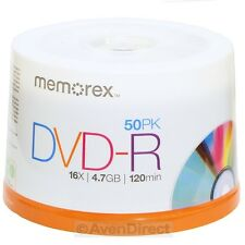 50 New Memorex 16X Silver Logo Blank 4.7GB DVD-R Media Fast USPS Priority Mail