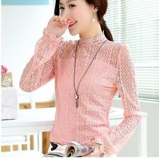 Elegant Classy Floral Lace Top Blouse Slim Frill Vintage Classic Sheer High Neck