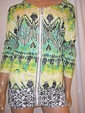 ONQUE PLUS SIZE 2X GREEN MULTI ZIP FRONT STRETCH KNIT LIGHTWEIGHT JACKET NWT