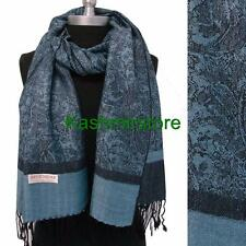 New Pashmina Paisley Floral Silk Wool Scarf Wrap Shawl Soft Blue/black #5808