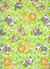 BTHY 1/2 By The Half Yard Fabric 100% Cotton Precious Moments Toss Panda lion