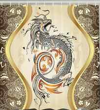 Asian Shower Curtain Chinese Dragon Gold Power Strength Luck FABRIC Designer 70