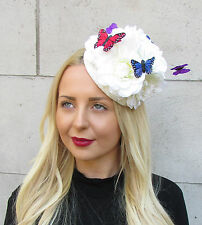 Ivory Cream Large Flower Butterfly Fascinator Pillbox Races Hat Ascot Rose 2295