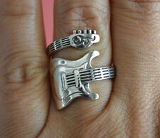 925 Sterling Silver Adjustable Rock Star Guitar Ring - Electric Guitar Ring NEW