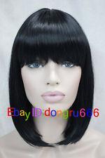 NEW High quality BLACK BOB STYLE LADIES FULL WIGS+WIG CAP