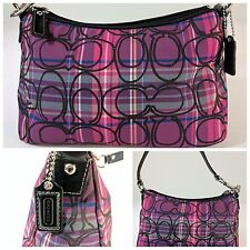 COACH PINK PURPLE TARTAN PLAID BAG