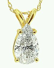 """1.5Ct Solitaire Pendant Necklace And 18"""" Chain Solid 14k Yellow Gold Pear Shaped"""
