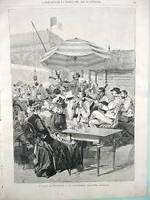 stampa antica PARIGI EXPO 1889 ROMANIA BUCAREST CONCERTO MUSICA LAUTARS VIOLINO