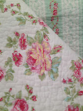 SHABBY COTTAGE FRENCH COUNTRY CHIC 3P KING QUILT SHAMS SET AQUA PINK ROSES