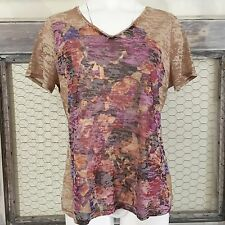 Coldwater Creek Knit Top Muted Floral Large  L 14 Autumn Tan Purple Shirt