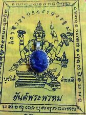 Ganesh Amulet Buddha Prayer Thailand Pendant Meditation Hindu Success Stone Blue