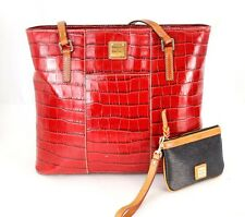 Lot Authentic Dooney & Bourke Red Embossed Leather Tote Shoulder bag w/ Wristlet