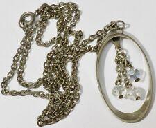 pendentif collier bijou vintage 70 couleur argent perle cristal boréal * 393