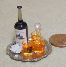 1:12 Decanter & Whisky Bottle With 2 Glasses & Metal Tray Dolls House Miniature