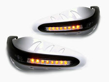 WHITE Motorcycle Handguards With LED Indicators For Yamaha FZ6N FZ8 FZ1 XJ6 XJ6N